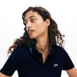 Womens Rainbow Script Collar Polo