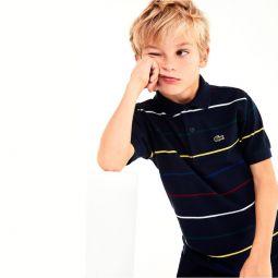 Boys Pinstriped Cotton Pique Polo Shirt