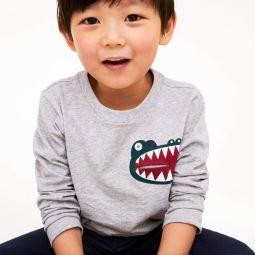 Boys Crocodile Print Pocket Cotton T-shirt
