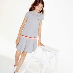 Girls Pleated Cotton Polo Dress