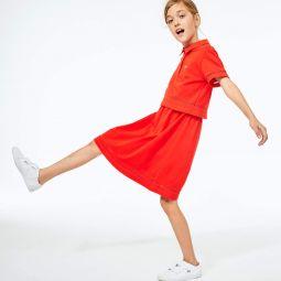 Girls' Cotton Petit Pique Polo Dress