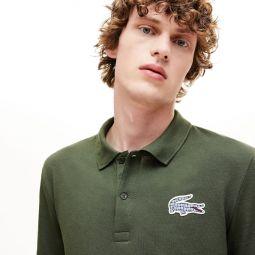 Mens Regular Fit Checkered-Logo Pique Polo Shirt