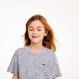 Girls Crewneck Flared Print Cotton T-shirt