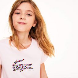 Girls Polka Dot Print Crocodile Cotton T-shirt