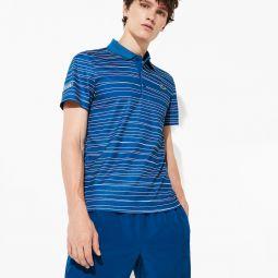 Mens SPORT Striped Breathable Pique Tennis Polo