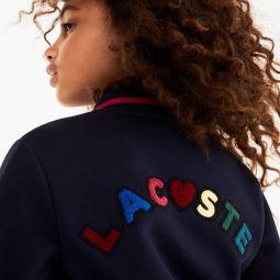 Girls Multicolored Patch Fleece Varsity Jacket