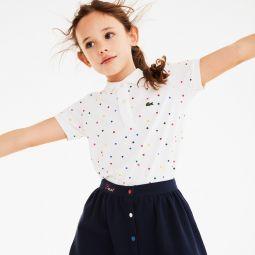 Girls Polka Dot Cotton Pique Polo