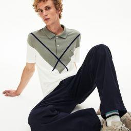 Mens Made In France Jacquard Cotton Pique Polo Shirt