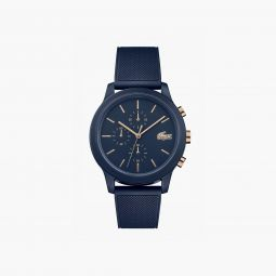 Mens Lacoste.12.12 Watch with Navy Silicone Petit Pique Strap