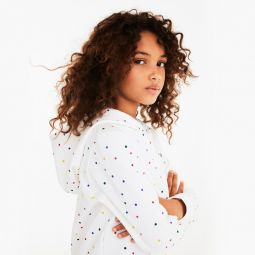 Girls Colored Polka Dot Fleece Sweatshirt
