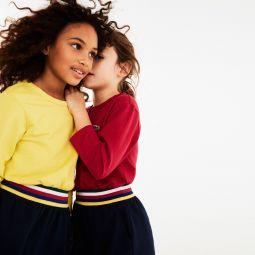 Girls Striped-Waist Color-Blocked Fleece Dress