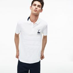Mens Slim Fit Lettering Stretch Mini Pique Polo