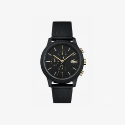 Mens Lacoste.12.12 Watch with Black Silicone Petit Pique Strap