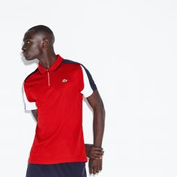 Mens SPORT Zip Neck Contrast Bands Pique Tennis Polo