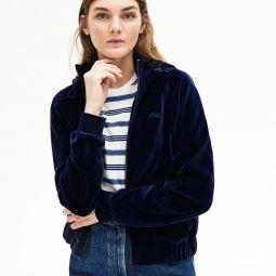 Womens Hooded Velour Terry Zip-Front Sweatshirt