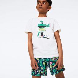 Boys' Lacoste x Jeremyville Graphic Printed Swim Trunks