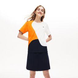 Womens Crewneck Color-Block Thermoregulating T-shirt