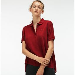 Womens Modern Fit Flowing Stretch Cotton Pique Polo