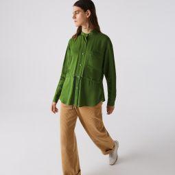 Womens Relaxed Fit Adjustable Waist Flowy Mao Collar Shirt