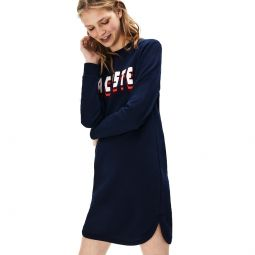 Womens 3D-Lettering Fleece Sweatshirt Dress
