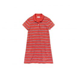 Girls Striped Cotton And Linen Polo Dress