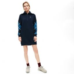 Womens Made In France Jacquard Patterned Fleece Sweatshirt Dress