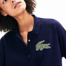Womens Relaxed Fit Croco Magic Logo Pique Polo