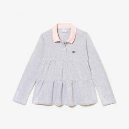 Girls Flounced Cotton Pique Polo Shirt