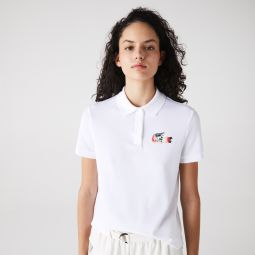 Womens Regular Fit Colored Crocodile Flowy Pique Polo