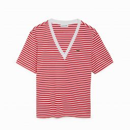 Women's Striped Cotton V-Neck T-Shirt