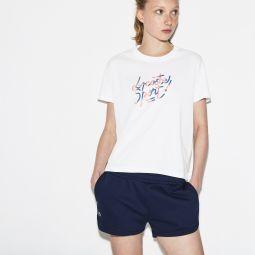 Womens Lacoste SPORT Crew Neck Shaded Design Tennis T-shirt