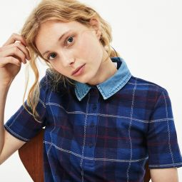 Womens Tartan Check Cotton Jacquard Polo