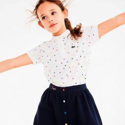 Girls Colored Snap Cotton Pique Skater Skirt