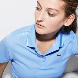 Womens SPORT Contrast Accents Square Knit Golf Polo