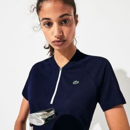 Womens SPORT Zip Crewneck Golf Polo