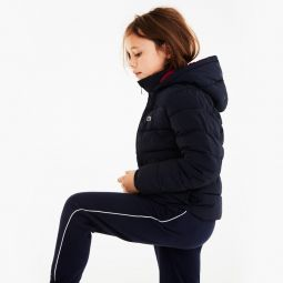 Girls Hooded Elasticized-Waist Quilted Jacket