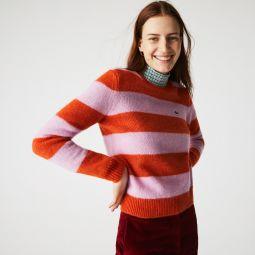 Women's Crew Neck Striped Wool Blend Sweater