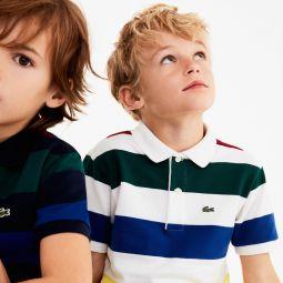 Boys Colored Stripes Cotton Pique Polo