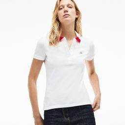 Womens Slim Fit Stretch Pique Polo