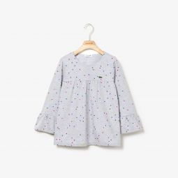 Girls Flounced Polka Dot Print Cotton T-shirt