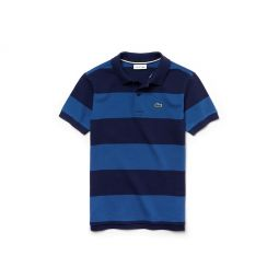 Boys Striped Cotton Petit Pique Polo Shirt