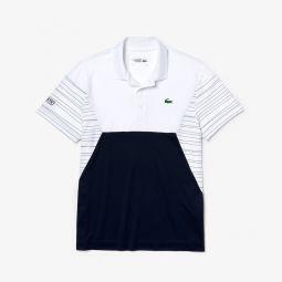 Mens SPORT Color-Blocked Breathable Pique Tennis Polo Shirt