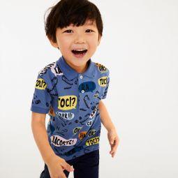 Boys Graphic Cotton Pique Polo Shirt