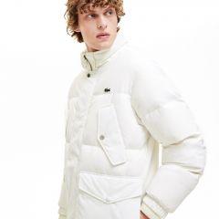 Mens Detachable Hood Water-Resistant Quilted Jacket