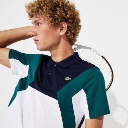 Mens SPORT Ultra-Lightweight Color-Blocked Cotton Tennis Polo Shirt