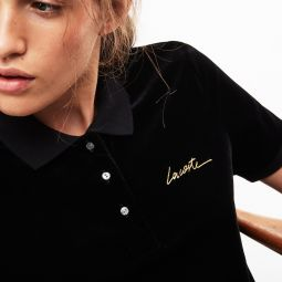 Womens LIVE Slim Fit Golden Signature Velvet Polo Shirt