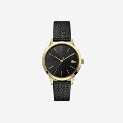 Ladies Lacoste 12.12 Premium Watch with Black leather with embossed petit pique pattern Strap