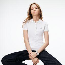 Womens Slim Fit Stretch Mini Cotton Pique Polo