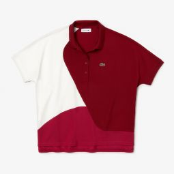 Womens Color-Block Thermoregulating Pique Polo