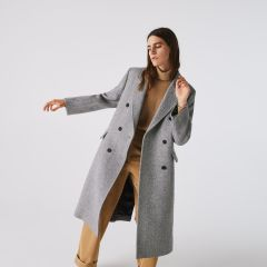 Womens Double-Breasted Chevron Long Wool Blend Coat